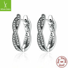 Authentic S925 Sterling Solid Twist Of Fate Earrings With Clear CZ Fine Jewelry