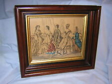 "ANTIQUE  12"" X 14"" X 2.25""  THICK MAHOGANY FRAME GILT / GIBSON GIRL PRINT UNIQUE"