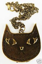 LARGE CAT FACE MODERN BRONZE TONE PENDANT AND CHAIN