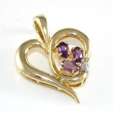 10K Yellow Gold Purple Amethyst Diamond Accent Heart Love Pendant QR1