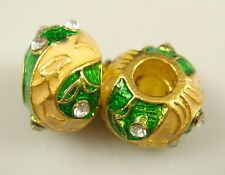 Clover Faberge Egg Bead Drip Gum Lime Clear Crystal Fit sterling 925 Bracelet @9