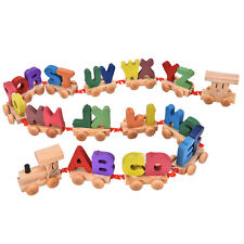 1 Set Wooden Letters Train Alphabets Kids Baby Educational Learning Rope Toy FO