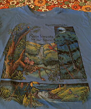 VTG Roger Williams Park Zoo Rainforest T Shirt XL Parrot Toucan Ferngully Blue