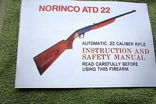 NORINCO ATD 22 Automatic .22 Caliber Rifle Manual, 15 pages of reference info