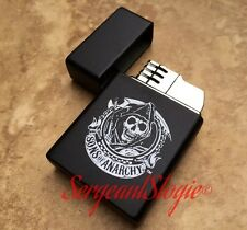 Sons of Anarchy Single Jet Flame Cigar Butane Lighter Black & Chrome ✫NEW IN BOX