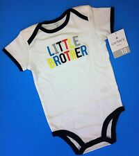 """NEW* """"Little Brother"""" Baby Boys Graphic Bodysuit Shirt 24 Months Gift Carter's"""