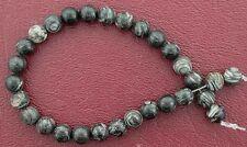 6mm Round Gemstone Gem Stone Black White Jasper Beads 7 Inch Strand