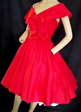 "1950's-1980'S VINTAGE RED SILK? VERY  FULL DRESS  VALENTINES, PROM - 36"" BUST"