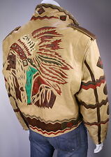 * VOLCANO * Custom Aztec Indianhead Native American Leather Jacket~ Large