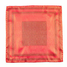 New SANTOSTEFANO Handmade Geometric Coral Pink Pocket Square Handkerchief $150