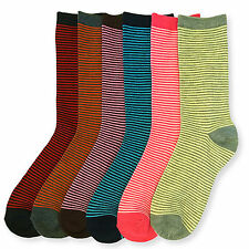6 Pairs Womens Socks Size 9-11 Micro Striped Assorted Multi-Color Bulk Lot