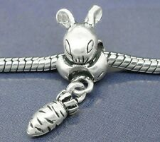 Rabbit with Dangling Carrot Easter Bunny Bead for Silver European Charm Bracelet