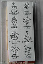 """Stampin Up Greetings Galore set of 8 """"Retired"""" Birthday, Christmas, Leaf, Flower"""