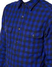 Ralph Lauren Long Sleeve Buffalo Checked Jacquard Pullover Work Shirt Blue - 2XL