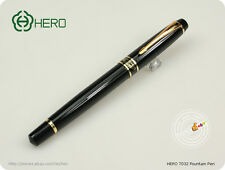 Hero Pens 7032 Fountain Pen Lacquered Black GT- Fine Nib & Golden trims and ring