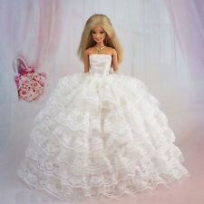 Again!!Gorgeous Barbie 7 Layer Sheer Lace White Wedding Dress Cloth Gown Veil