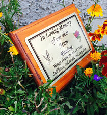 Solid Wooden Memorial Stake Grave/Tree Marker Cremation with Personalised Plaque
