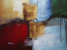 colorful abstract large oil painting canvas yellow red blue gold modern original
