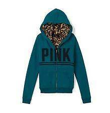 VICTORIA'S SECRET PINK FUR HOODIE JACKET LEOPARD TEAL BLUE M NWT!