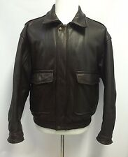 Banana Republic Mens Heavy Leather Bomber Jacket Brown Zip Size 42