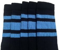 """25"""" KNEE HIGH BLACK tube socks with BABY BLUE stripes style 3 (25-79)"""