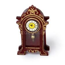 1:12 Dollhouse Miniature Furniture Wood Table Mantle Clock Old Fashioned