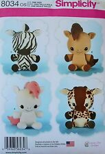 Simplicity Stuffed Animal Sewing Pattern 8034-Giraffe, Zebra, Unicorn, Pony