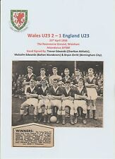 WALES U23 1958 INTERNATIONAL TEAM GROUP ORIGINAL HAND SIGNED WITH 3 X SIGNATURES