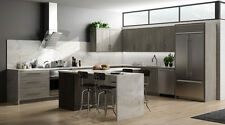 RTA 10X10 Contemporary Melamine Matrix Silver Kitchen Cabinets, Slab, Gray