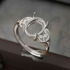 Sterling Silver 925 White Gold Plated 9x11mm Oval Cabochon Semi Mount Fine Ring