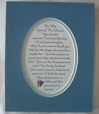 SPECIAL IN LAWS from Son In Law THANK YOU Mom Dad Parents verses poems plaques