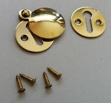 Keyhole Polished Brass Escutcheon Key Covered Plates-30mm With Screws.