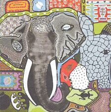 2 Serviettes en papier Patchwork Afrique éléphant Paper Napkins Touch of Africa