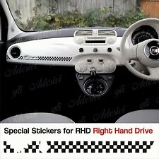 Stickers Fiat 500 Scacchi Nero dashboard Abarth for Right Hand Drive RHD