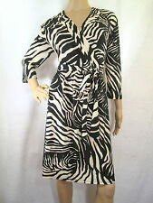 LIZ CLAIBORNE Black & Beige Zebra Print 3/4 Sleeves Jersey Dress, Size Medium