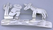 Siesta Time Figure Cactus Donkey Mexico Pure 925 Sterling Silver Pin Brooch 5263