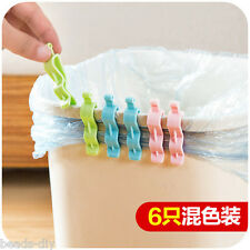 6Pcs Universal Trash Bag Fixed Clip Waste Basket Rubbish Bin Garbage Can Clamp