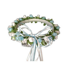 Light Blue & white Silk Poly Rose Halo Flower Girl Head Piece Band Green Leaves