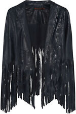 **KATE MOSS FOR TOPSHOP** Tasselled Fringe Cropped Leather Jacket