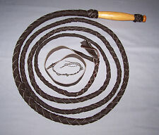 12ft 4plait  Indiana Jones Dark Brown Leather Western style Bullwhip with popper