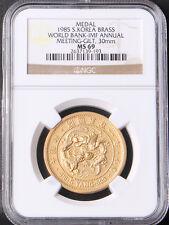 Korea 1985 World Bank IMF Annual Meeting Brass Gilt (5 Yang) MEDAL NGC MS69