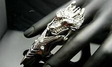 TF217 Red Crystal Eye Chinese Dragon Armor Claw Ring EMO Punk Gothic Biker