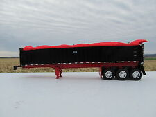 DCP 1/64 SCALE MAC FRAME TYPE DUMP TRAILER TRIPLE AXLE BLACK / RED TARP & FRAME