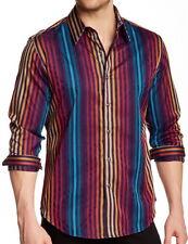 Robert Graham Mens Palladium Striped Long Sleeve Shirt Size XL