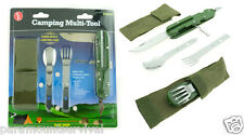 Multi Functional Camping Tool Spoon, Fork, Knife, Can Opener, Cork Screw Green
