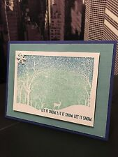 "Stampin Up/ Hero Arts ""Let It Snow"" Snowy Night Christmas Holiday Handmade Card"