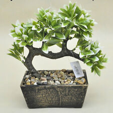 Bonsai Tree in Wooden Pot, Artificial Plant Decoration for Office and Home 25 cm