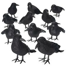 Halloween Black Glitter Feathered Small Crows - 9 Pc Black Birds Ravens Props