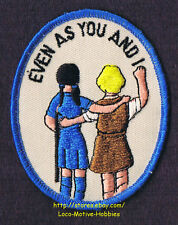 LMH Patch Badge  EVEN AS YOU AND I  Slogan Girl Brownie Blue Uniform Scouts 3.5""