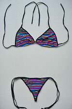Sexy G-STRING BIKINI, Multi-Coloured 2 Piece Swimming Costume, Thong, Underwear